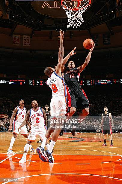 DeMar DeRozan of the Toronto Raptors goes to the basket against Jonathan Bender of the New York Knicks during the game on January 15 2010 at Madison...