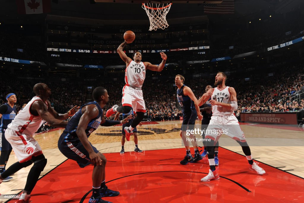 DeMar DeRozan #10 of the Toronto Raptors goes to the basket against the Dallas Mavericks on March 13, 2017 at the Air Canada Centre in Toronto, Ontario, Canada.