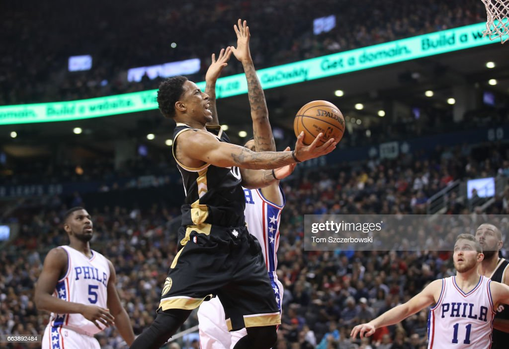 DeMar DeRozan #10 of the Toronto Raptors goes to the basket against the Philadelphia 76ers during NBA game action at Air Canada Centre on April 2, 2017 in Toronto, Canada.
