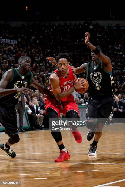 DeMar DeRozan of the Toronto Raptors goes to the basket against the Milwaukee Bucks during Game Three of the Eastern Conference Quarterfinals of the...