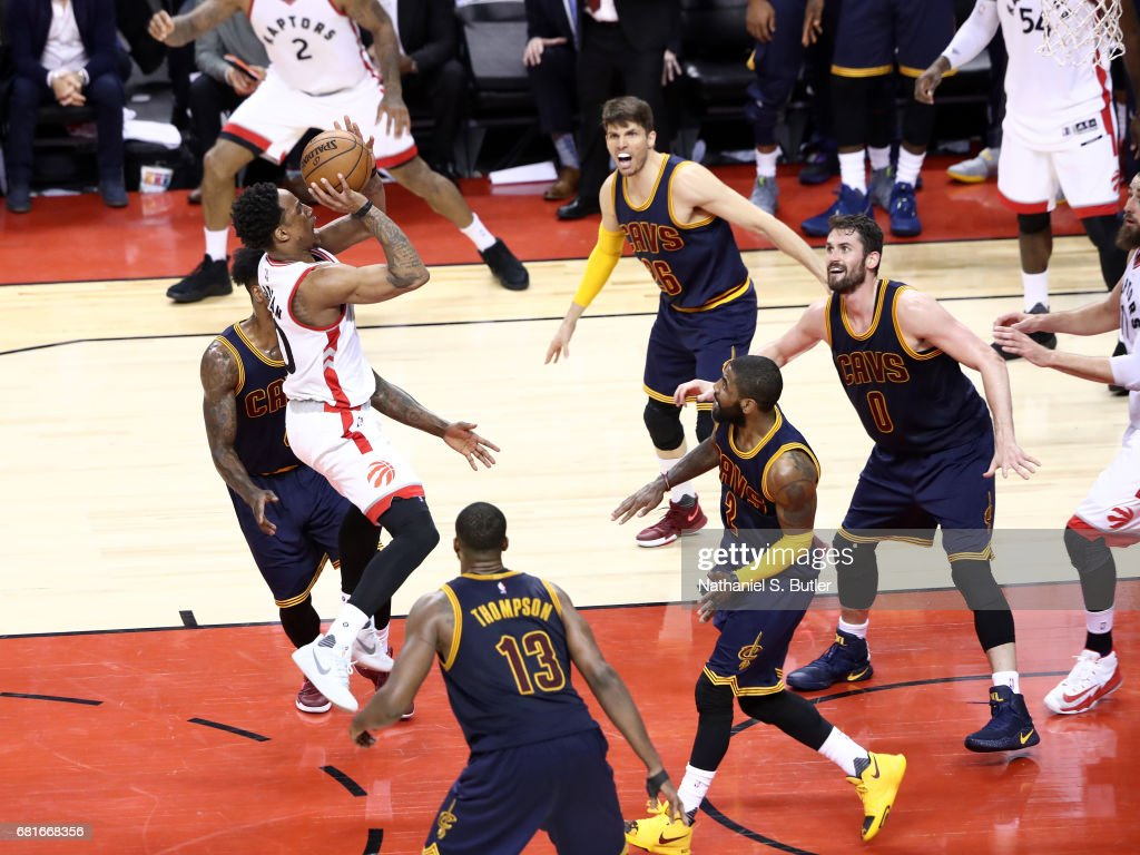DeMar DeRozan #10 of the Toronto Raptors goes to the basket against the Cleveland Cavaliers during Game Three of the Eastern Conference Semifinals of the 2017 NBA Playoffs on May 5, 2017 at the Air Canada Centre in Toronto, Ontario, Canada.
