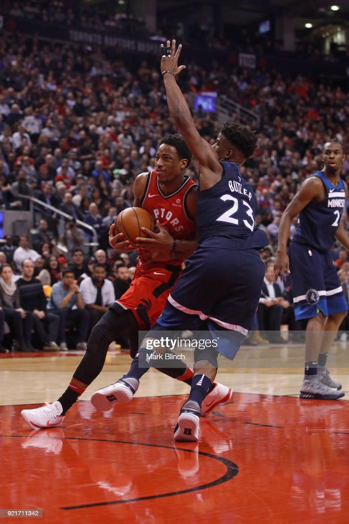 DeMar DeRozan #10 of the Toronto Raptors goes to the basket against the Minnesota Timberwolves on January 30, 2018 at the Air Canada Centre in Toronto, Ontario, Canada.
