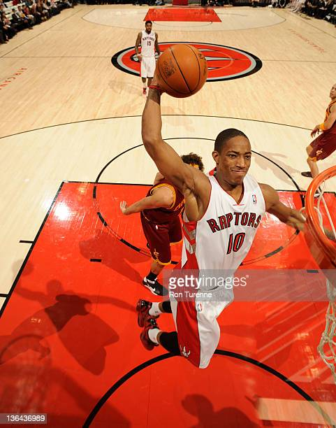 DeMar DeRozan of the Toronto Raptors goes to the basket during the game between Cleveland Cavaliers and the Toronto Raptors on January 4 2012 at the...