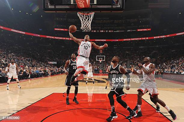 DeMar DeRozan of the Toronto Raptors goes up for a dunk against the Brooklyn Nets on March 8 2016 at the Air Canada Centre in Toronto Ontario Canada...