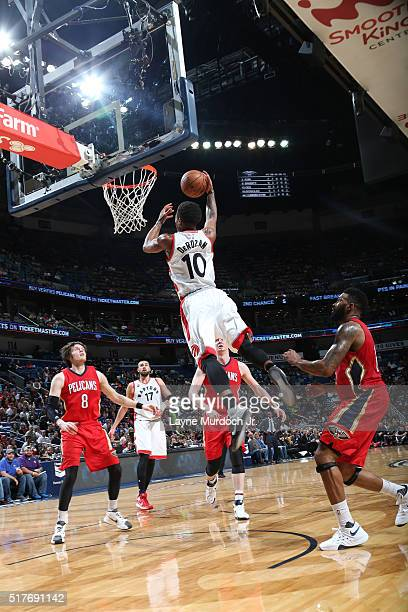 DeMar DeRozan of the Toronto Raptors goes up for a dunk against the New Orleans Pelicans on March 26 2016 at Smoothie King Center in New Orleans...