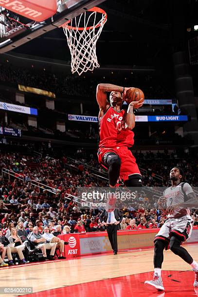 DeMar DeRozan of the Toronto Raptors goes up for a dunk during a game against the Houston Rockets on November 23 2016 at the Toyota Center in Houston...