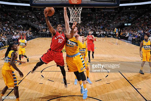 DeMar DeRozan of the Toronto Raptors goes up for a lay up against the Denver Nuggets on November 18 2016 at the Pepsi Center in Denver Colorado NOTE...