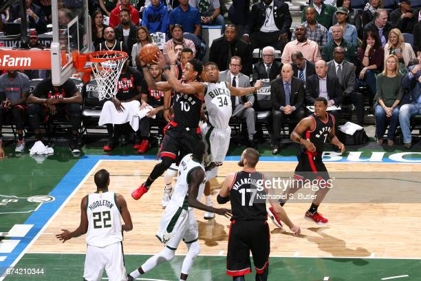 DeMar DeRozan of the Toronto Raptors goes up for a shot against the Milwaukee Bucks during Game Six of the Eastern Conference Quarterfinals of the...