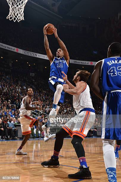 DeMar DeRozan of the Toronto Raptors goes up for a shot during a game against the New York Knicks on November 12 2016 at the Air Canada Centre in...