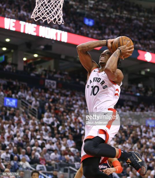 DeMar DeRozan of the Toronto Raptors goes up for a slam against the Washington Wizards in Game Two of the Eastern Conference First Round in the 2018...