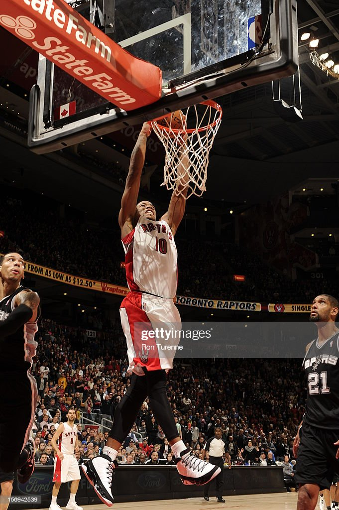 DeMar DeRozan #10 of the Toronto Raptors goes up for the dunk vs the San Antonio Spurs during the game on November 25, 2012 at the Air Canada Centre in Toronto, Ontario, Canada.