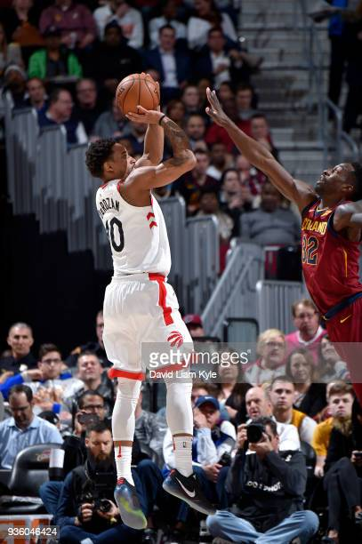 DeMar DeRozan of the Toronto Raptors goes up for the shot against the Cleveland Cavaliers on March 21 2018 at Quicken Loans Arena in Cleveland Ohio...