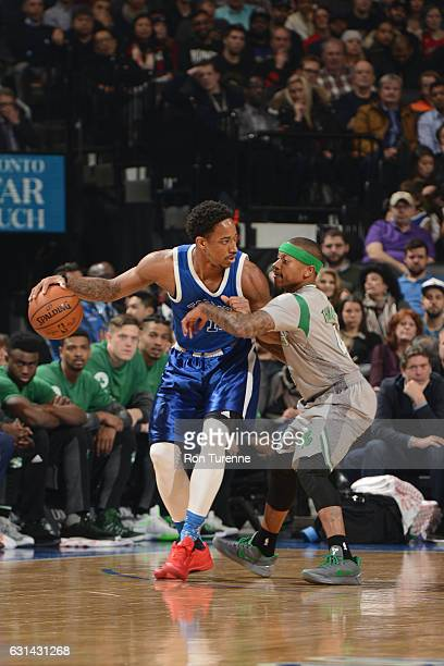 DeMar DeRozan of the Toronto Raptors handles the ball against Isaiah Thomas of the Boston Celtics during a game on January 10 2017 at the Air Canada...