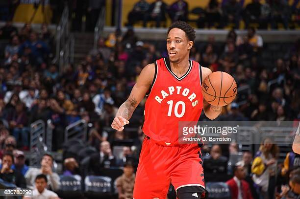 DeMar DeRozan of the Toronto Raptors handles the ball against the Los Angeles Lakers on January 1 2017 at STAPLES Center in Los Angeles California...