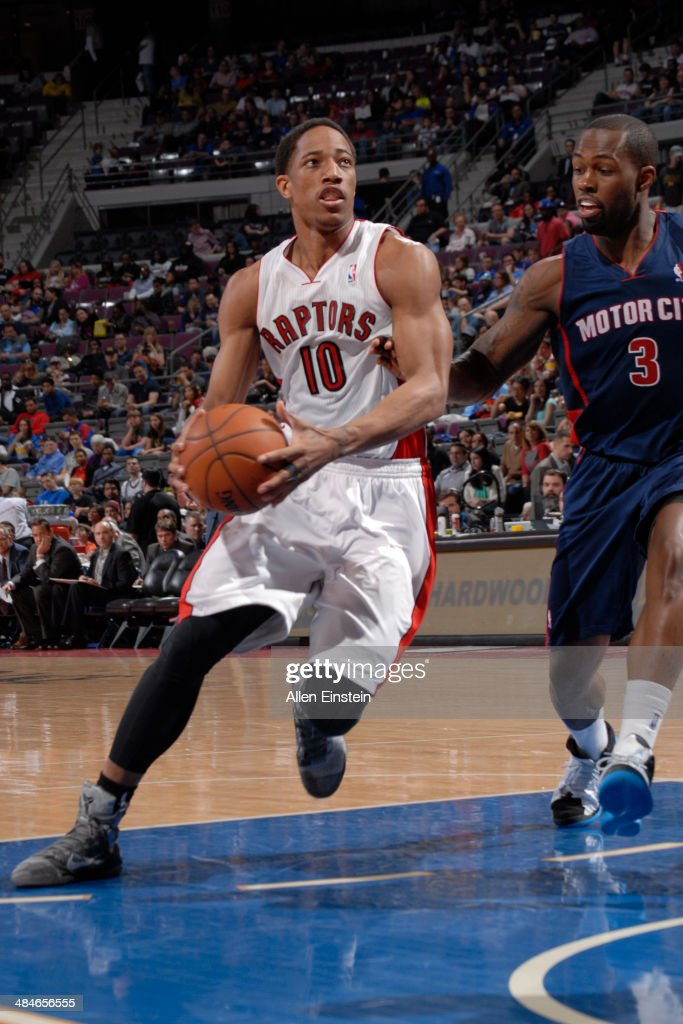 DeMar DeRozan #10 of the Toronto Raptors handles the ball against the Detroit Pistons on April 13, 2014 at The Palace of Auburn Hills in Auburn Hills, Michigan.