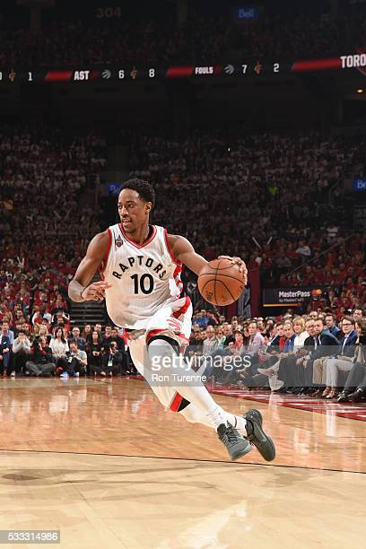 DeMar DeRozan of the Toronto Raptors handles the ball against the Cleveland Cavaliers in Game Three of the Eastern Conference Finals of the 2016 NBA...