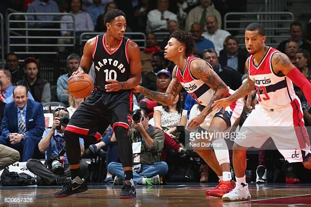 DeMar DeRozan of the Toronto Raptors handles the ball against the Washington Wizards on November 2 2016 at Verizon Center in Washington DC NOTE TO...