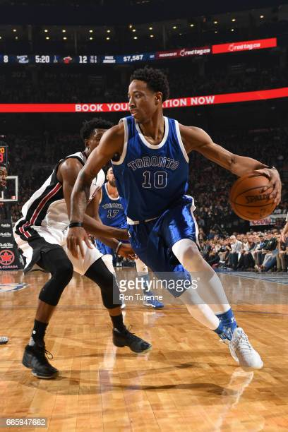 DeMar DeRozan of the Toronto Raptors handles the ball against the Miami Heat on April 7 2017 at the Air Canada Centre in Toronto Ontario Canada NOTE...