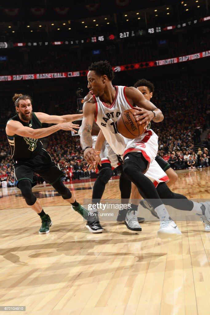 DeMar DeRozan #10 of the Toronto Raptors handles the ball against the Milwaukee Bucks in Round One of the Eastern Conference Playoffs during the 2017 NBA Playoffs on April 15, 2017 at the Air Canada Centre in Toronto, Ontario, Canada.