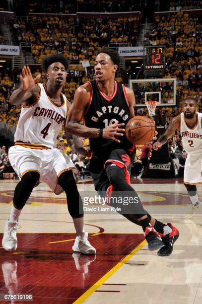DeMar DeRozan of the Toronto Raptors handles the ball against the Cleveland Cavaliers during Game One of the Eastern Conference Semifinals of the...