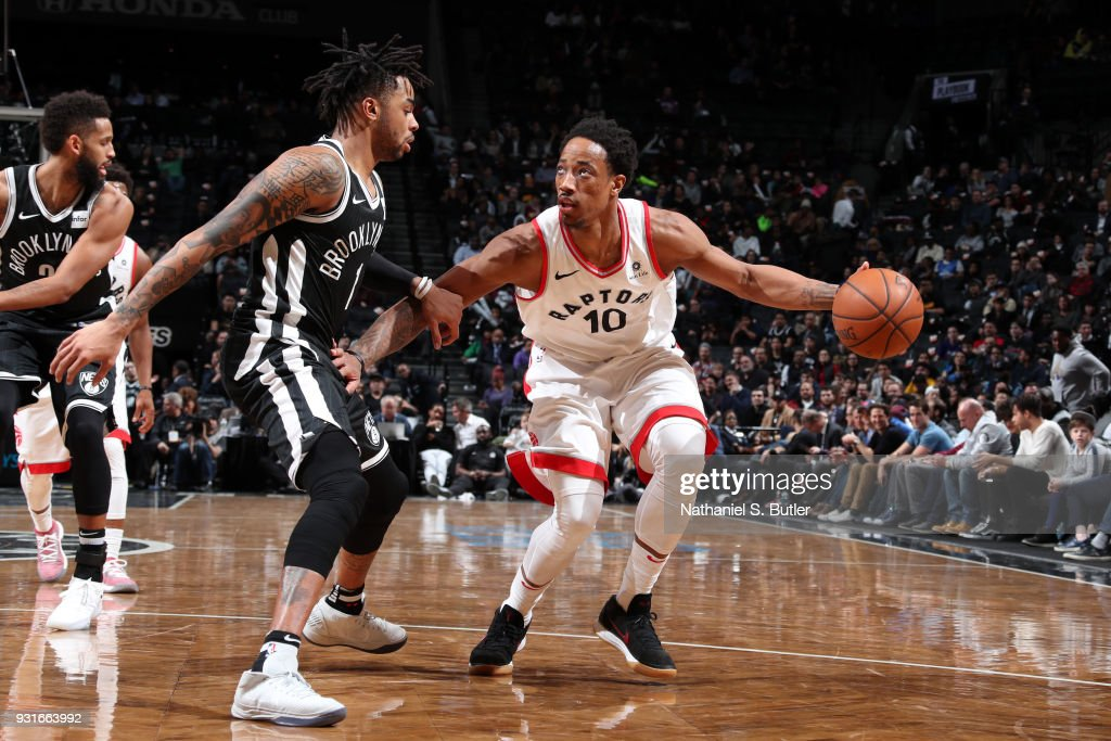DeMar DeRozan #10 of the Toronto Raptors handles the ball against the Brooklyn Nets on March 13, 2018 at Barclays Center in Brooklyn, New York.