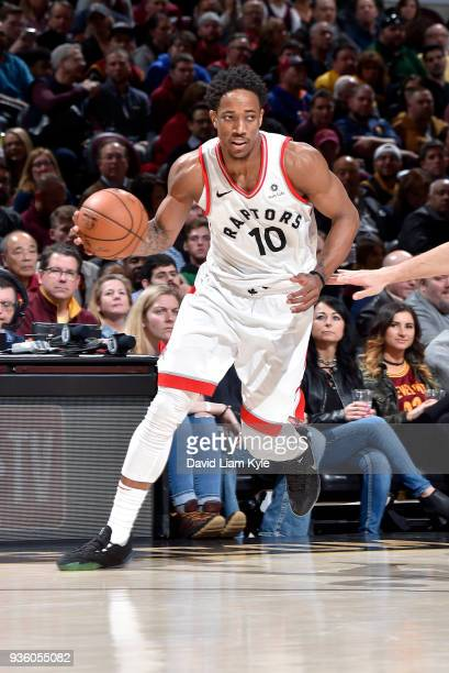 DeMar DeRozan of the Toronto Raptors handles the ball against the Cleveland Cavaliers on March 21 2018 at Quicken Loans Arena in Cleveland Ohio NOTE...