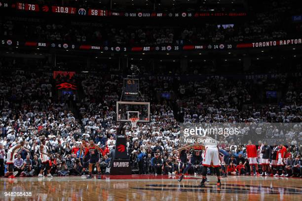 DeMar DeRozan of the Toronto Raptors handles the ball against the Washington Wizards in Game Two of Round One of the 2018 NBA Playoffs on April 17...
