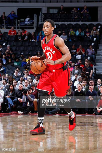 DeMar DeRozan of the Toronto Raptors handles the ball during the game against the Detroit Pistons on February 8 2016 at The Palace of Auburn Hills in...