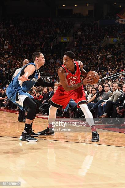 DeMar DeRozan of the Toronto Raptors handles the ball during the game against the Minnesota Timberwolves on February 24 2016 at the Air Canada Centre...