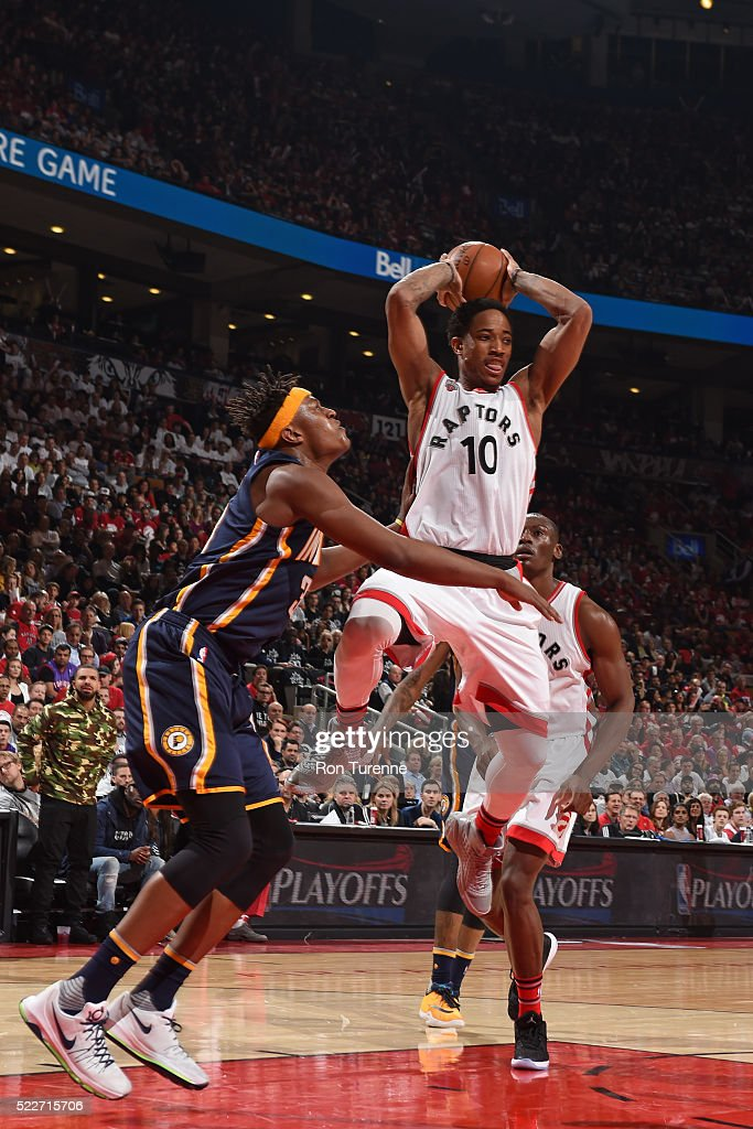 DeMar DeRozan #10 of the Toronto Raptors handles the ball during the game against Myles Turner #33 of the Indiana Pacers in Game One of the Eastern Conference Quarterfinals during the 2016 NBA Playoffs on April 16 at the Air Canada Centre in Toronto, Ontario, Canada.