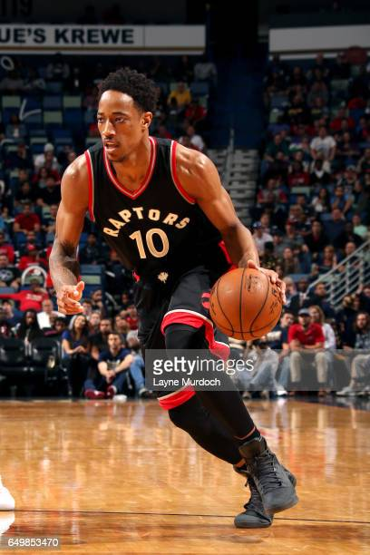 DeMar DeRozan of the Toronto Raptors handles the ball during the game against the New Orleans Pelicans on March 8 2017 at the Smoothie King Center in...