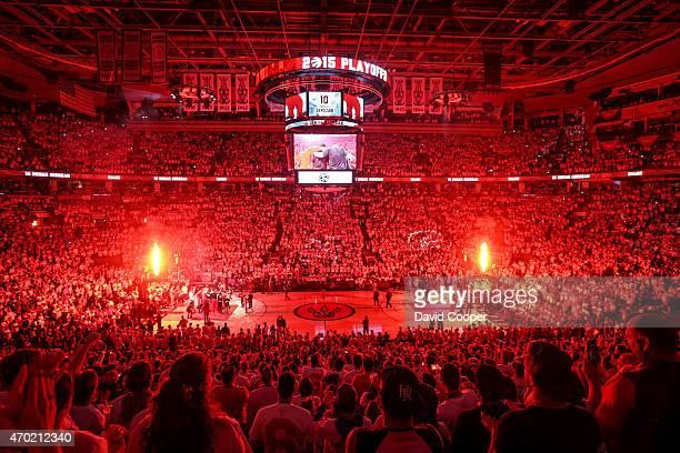 TORONTO ON APRIL 18 DeMar DeRozan of the Toronto Raptors is introduced before the game between the Toronto Raptors and the Washington Wizards at the...