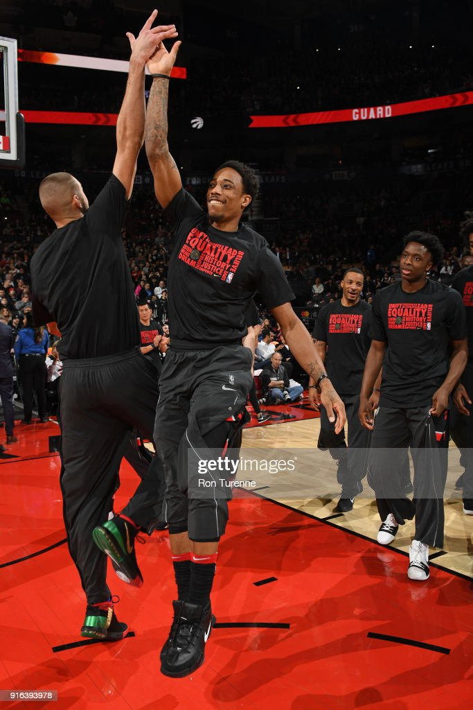 DeMar DeRozan #10 of the Toronto Raptors is introduced before the game against the New York Knicks on February 8, 2018 at the Air Canada Centre in Toronto, Ontario, Canada.