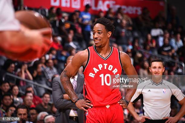 DeMar DeRozan of the Toronto Raptors is seen against the Los Angeles Clippers on October 5 2016 at STAPLES Center in Los Angeles California NOTE TO...