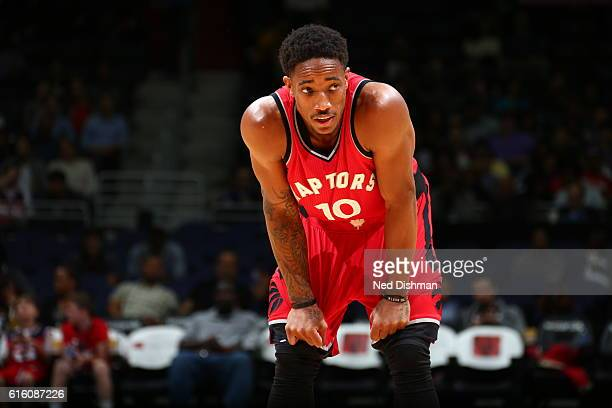 DeMar DeRozan of the Toronto Raptors looks on against the Washington Wizards during a preseason game on October 21 2016 at Verizon Center in...