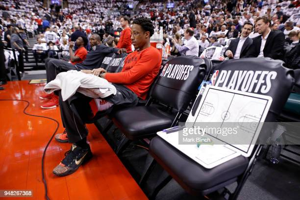 DeMar DeRozan of the Toronto Raptors looks on before the game against the Washington Wizards in Game Two of Round One of the 2018 NBA Playoffs on...