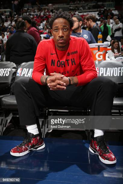 DeMar DeRozan of the Toronto Raptors looks on before the game against the Washington Wizards in Game Three of Round One of the 2018 NBA Playoffs on...