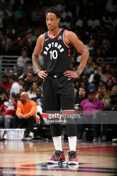 DeMar DeRozan of the Toronto Raptors looks on during the game against the Washington Wizards in Game Three of Round One of the 2018 NBA Playoffs on...