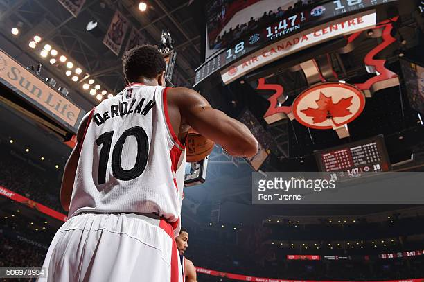 DeMar DeRozan of the Toronto Raptors looks to pass the ball against the Washington Wizards on January 26 2016 at the Air Canada Centre in Toronto...