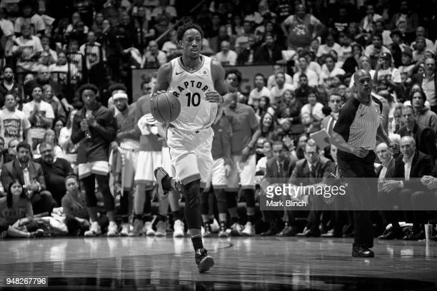 DeMar DeRozan of the Toronto Raptors moves up the court during the game against the Washington Wizards in Game Two of Round One of the 2018 NBA...