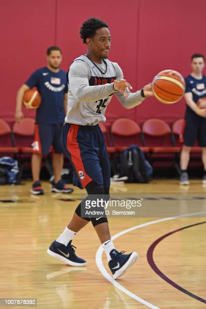 DeMar DeRozan of the Toronto Raptors passes the ball during USAB Minicamp at Mendenhall Center on the University of Nevada Las Vegas campus on July...