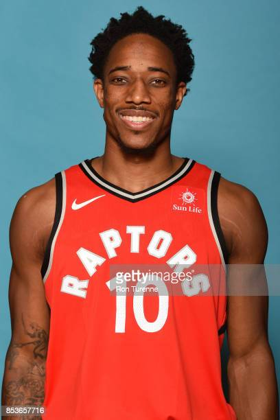 DeMar DeRozan of the Toronto Raptors poses for a head shot during Media Day on September 25 2017 at the BioSteel Centre in Toronto Ontario Canada...