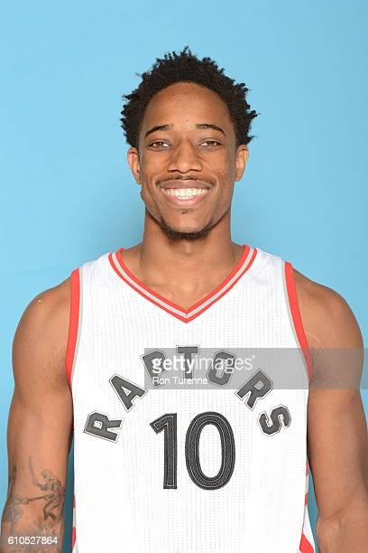 DeMar DeRozan of the Toronto Raptors poses for a head shot during the 20162017 Media Day on September 26 2016 at the BioSteel Centre in Toronto...