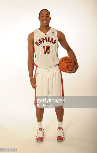DeMar DeRozan of the Toronto Raptors poses for a photo during Media Day on September 27 2010 at the adidas Practice Court in Toronto Canada NOTE TO...