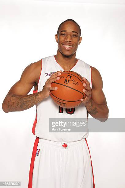 DeMar DeRozan of the Toronto Raptors poses for a photo during Media Day at the Air Canada Centre in Toronto Ontario Canada on September 29 2014 NOTE...