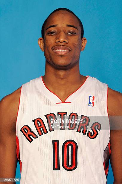DeMar DeRozan of the Toronto Raptors poses for a portrait during media day at Air Canada Centre on December 12 2011 in Toronto Ontario NOTE TO USER...
