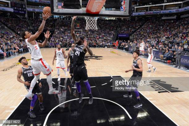 DeMar DeRozan of the Toronto Raptors puts up a shot against JaKarr Sampson of the Sacramento Kings on December 10 2017 at Golden 1 Center in...