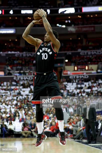 DeMar DeRozan of the Toronto Raptors puts up a shot against the Washington Wizards during Game Three of Round One of the 2018 NBA Playoffs at Capital...