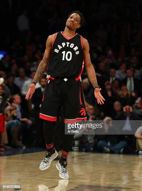 DeMar DeRozan of the Toronto Raptors reacts after hitting the game winning shot against the New York Knicks during their game at Madison Square...