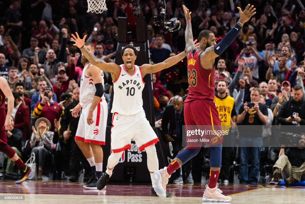 DeMar DeRozan #10 of the Toronto Raptors reacts after missing a last second shot over LeBron James #23 of the Cleveland Cavaliers during the second half at Quicken Loans Arena on March 21, 2018 in Cleveland, Ohio. The Cavaliers defeated the Raptors 132-129.